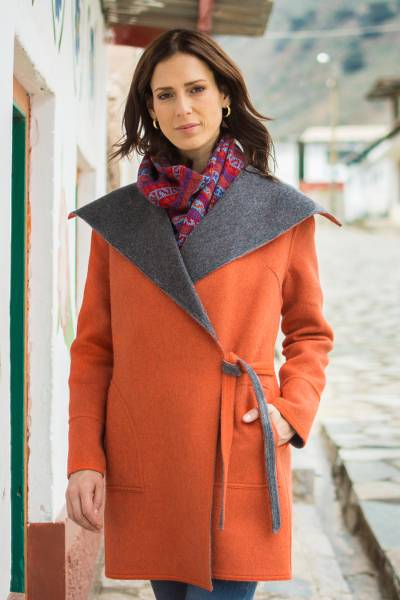 100% baby alpaca reversible coat, 'Fetching' - Orange and Grey Reversible 100% Baby Alpaca Wool Coat