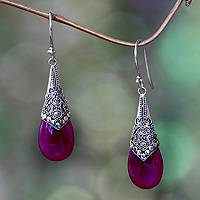 Chalcedony dangle earrings, 'Puncak Jaya in Pink' - Deep Pink Chalcedony and Silver Dangle Earrings from Bali