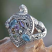 Multi-gemstone cocktail ring, 'Turtle in Paradise' - Artisan Crafted Balinese Turtle Theme Ring with Gemstones