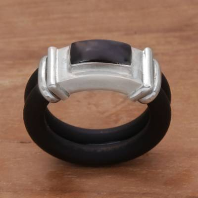 Onyx and rubber band ring, 'Elemental' - Onyx Sterling Silver and Natural Rubber Black Band Ring
