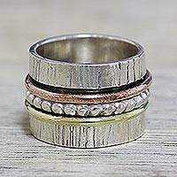 Sterling silver meditation spinner ring, 'Twirling Beauty' - Indian Spinner Ring of Sterling Silver Copper and Brass