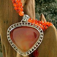 Carnelian pendant necklace, 'Autumn Blaze' - Carnelian Pendant Necklace