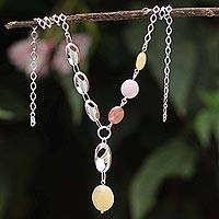 Rose quartz and rhodochrosite Y necklace, 'Ultra Chic' - Multi-Gemstone Y-Necklace