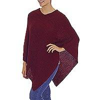 100% alpaca poncho, 'Enchanted Evening in Wine' - Knit Wine Colored 100% Alpaca Poncho from Peru