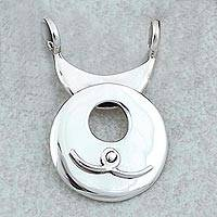 Sterling silver pendant, 'Aquarius Moon' - Taxco Sterling Silver Aquarius Pendant from Mexico