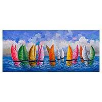 'Reflections on the High Seas' - Signed Impressionist Painting of Sailboats from Peru