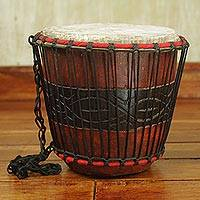 Wood bongo drum, 'Heartland' - Hand Carved Tweneboa Wood Bongo Drum from Ghana