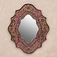 Mirror, 'Romance' - Reverse Painted Glass Wall Mirror