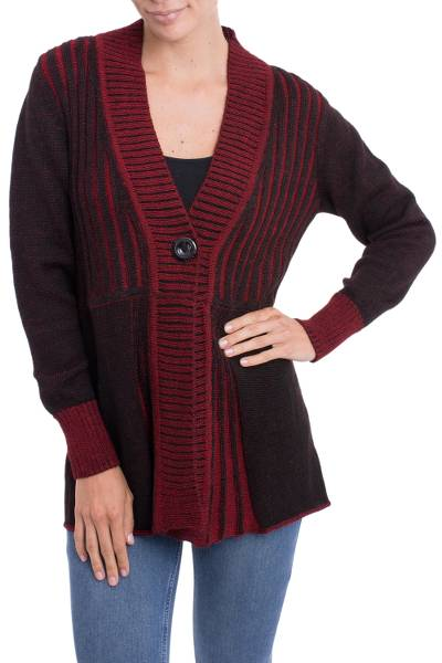 Alpaca blend cardigan, 'Queen of Contrast' - Peruvian Alpaca Blend Women's Red and Black Cardigan Sweater