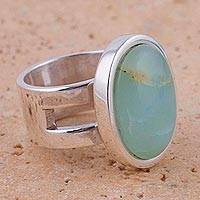 Opal single stone ring, 'Powerful Sweetness' - Opal and Sterling Silver Single Stone Ring from Peru