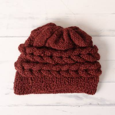 100% alpaca hat, 'Redwood Braid' - Hand-Crocheted 100% Alpaca Hat in Redwood from Peru