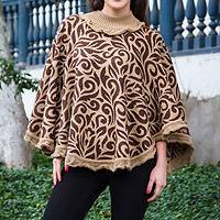 Alpaca blend poncho, 'Tan Foliage' - Tan and Brown Turtleneck Alpaca Blend Poncho with Lace