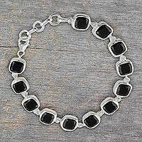 Onyx link bracelet, 'Midnight Whisper' (5.5 inch) - Fair Trade Onyx Bracelet (5.5 Inch)