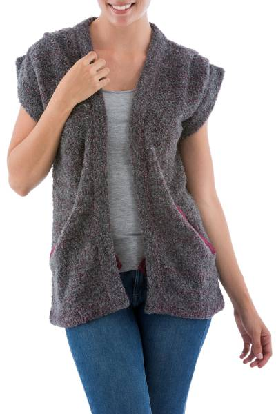 Alpaca blend cardigan vest, Burgundy Grey Boucle