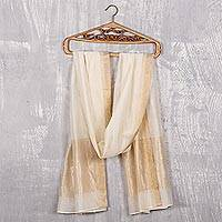 Cotton and silk shawl, 'Ivory Radiance' - Indian Handwoven Cotton and Silk Shawl in Ivory and Gold