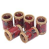 Batik cotton and ate grass napkin rings, 'Lombok Flowers in Red' (set of 6) - Batik Napkin Rings Floral Red (Set of 6) Indonesia