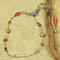 Recycled paper strand necklace, 'Festival in Accra' - Recycled Paper Handmade Necklace
