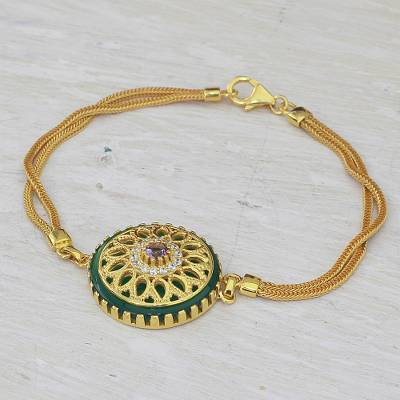 Gold plated amethyst and onyx pendant bracelet, 'Petal Grandeur' - Gold Plated Amethyst and Onyx Pendant Bracelet from India