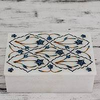 Marble inlay jewelry box, 'Blue Starflowers' - Fair Trade Marble Inlay Jewelry Box