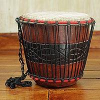 Wood bongo drum, 'Rhythmic Beat' - Hand Carved Tweneboa Wood Bongo Drum from Ghana