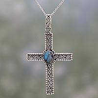 Sterling silver pendant necklace, 'Innocent Hope' - Sterling Silver and Composite Turquoise Cross Necklace