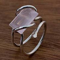 Rose quartz cocktail ring, 'I Love You' - Fine Silver and Rose Quartz Wrap Ring