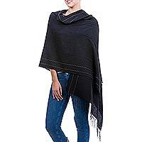 Alpaca blend shawl, 'Sensual Mystery' - Handwoven Alpaca Blend Shawl in Black from Peru