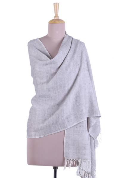 Cashmere shawl, 'Grey Grace' - Fringed Cashmere Shawl in Grey from India