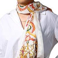 Hand painted silk batik scarf, 'Ancient Tradition' - Hand Painted Miniature Motifs Batik Scarf in 100% Silk
