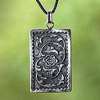 Sterling silver pendant, 'Ancient Beauty' - Artisan Crafted Sterling Silver Floral Pendant