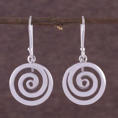 Sterling silver dangle earrings, Andean Whirlwind