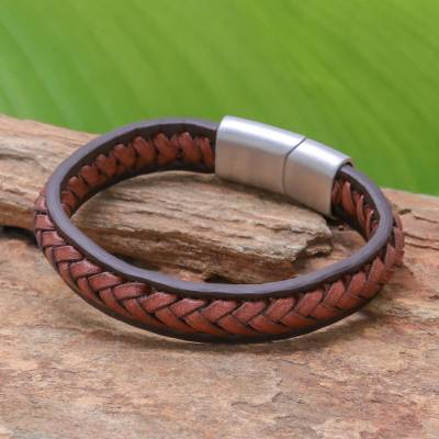 Leather braided wristband bracelet, 'Cool Style in Russet' - Russet Leather Braided Wristband Bracelet from Thailand