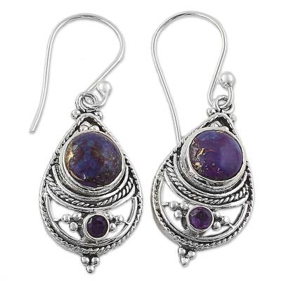 Amethyst dangle earrings, 'Wise Purple' - Amethyst Composite Turquoise Dangle Earrings from India