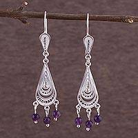 Amethyst chandelier earrings, 'Constellations' - Hand Made Amethyst and Fine Silver Filigree Earrings