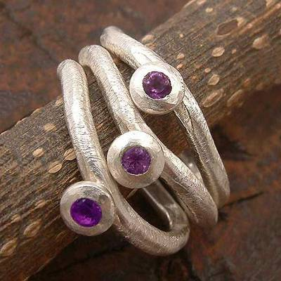 Amethyst stacking rings, 'Islands' (set of 3) - Unique Amethyst Stacking Rings (Set of 3)