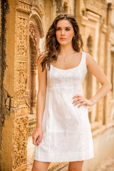 Cotton dress, 'Celebration' - Hand Embroidered White Cotton Sheath