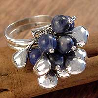 Sodalite cluster ring, 'Cluster' - Unique Sterling Silver and Sodalite Ring