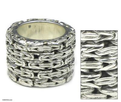 Sterling silver band ring, 'Togetherness' - Unique Sterling Silver Band Ring