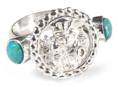 Chrysocolla cocktail ring, 'Inca Star Walker' - Chrysocolla Inca Style Cocktail Ring