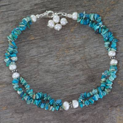 Magnesite and cultured pearl anklet, 'Song of Summer' - Magnesite and Cultured Pearl Anklet