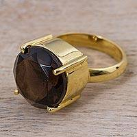 Gold plated smoky quartz single stone ring, 'Smoky Gold' - Gold Plated Smoky Quartz Single Stone Ring from Peru