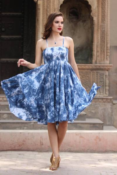 Tie-dyed cotton dress, Denim Ecstasy