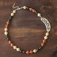Ceramic beaded necklace, 'Life on Earth' - Ceramic beaded necklace