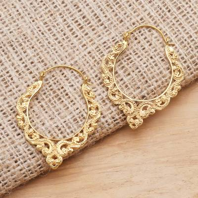 Gold plated hoop earrings, 'Ornate Waves' - Elegant Gold Plated Hoop Earrings