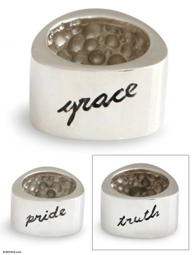 Sterling silver band ring, Truth, Grace, Pride
