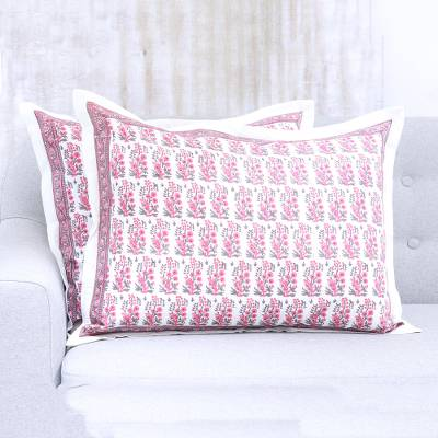 Cotton pillow shams, 'Blissful Blossoms' (pair) - Artisan Crafted Pair of Pink Floral Cotton Pillow Shams