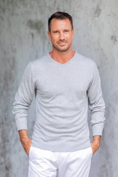 Mens cotton blend pullover, Warm Adventure in Pearl Grey