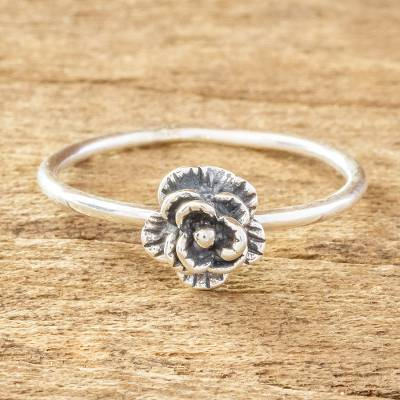 Sterling silver cocktail ring, 'Humble Blossom' - Small Flower Ring in Sterling Silver
