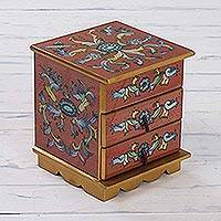Reverse-painted glass jewelry box, 'Autumn Magic' - Glass Jewelry Chest Handpainted Russet Gold