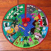 Cotton blend applique tree skirt, 'Nativity Story' - Multicolor Cotton Blend Nativity Scene Arpilleria Tree Skirt